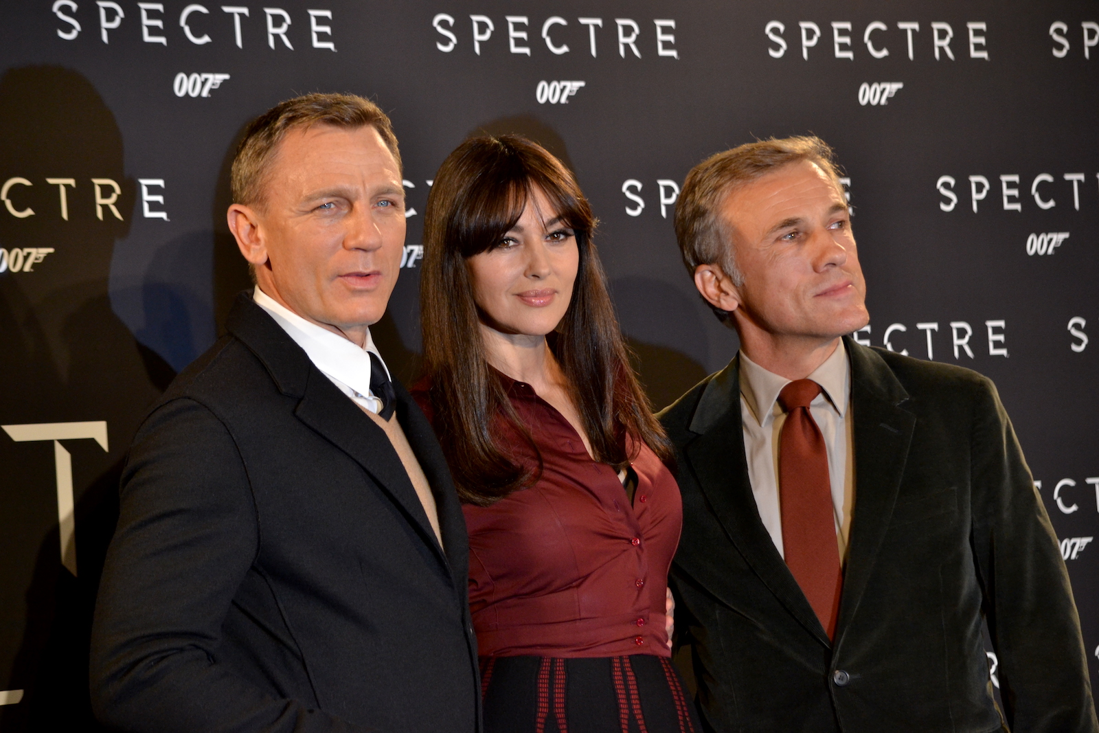 Cristoph Walz, Daniel Craig, Monica Bellucci al photocall di Spectre