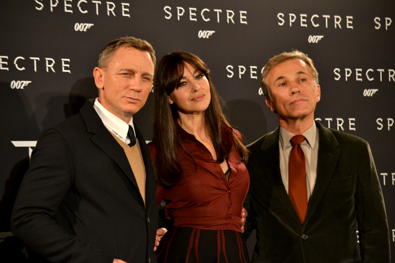 Daniel Craig, Monica Bellucci, Cristoph Walz al photocall di Spectre