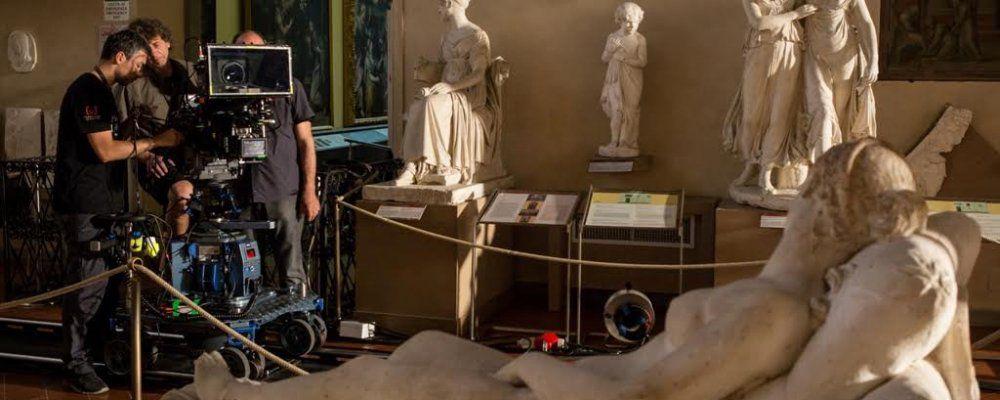 Firenze e gli Uffizi 3D/4K: la troupe del documentario al lavoro sul set