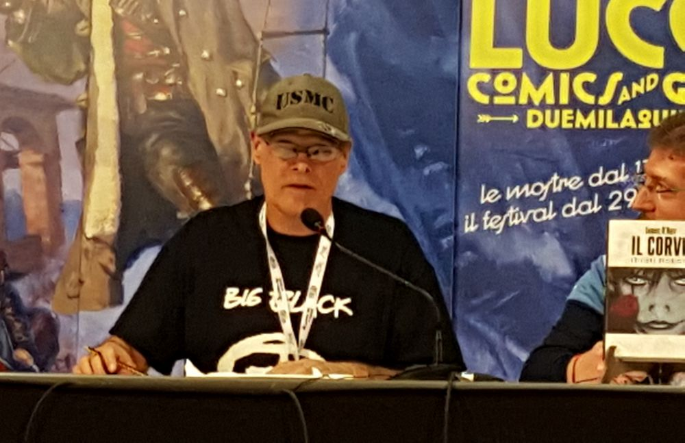 James O'Barr durante lo showcase a Lucca Comics 2015
