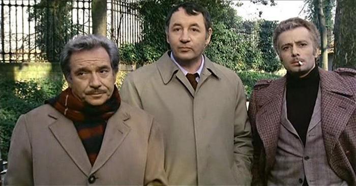Amici miei: Ugo Tognazzi, Philippe Noiret e Duilio Del Prete in una scena del film