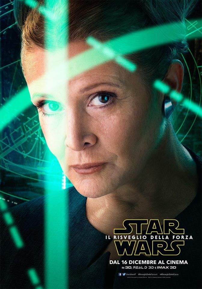 Star Wars: Il Risveglio della Forza, il character poster di Carrie Fisher