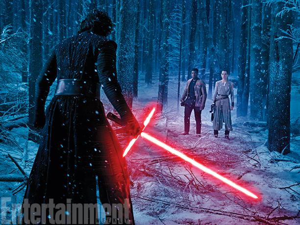 Star Wars: Il Risveglio della Forza - Adam Driver, John Boyega e Daisy Ridley in un'immagine del film diretto da J.J. Abrams