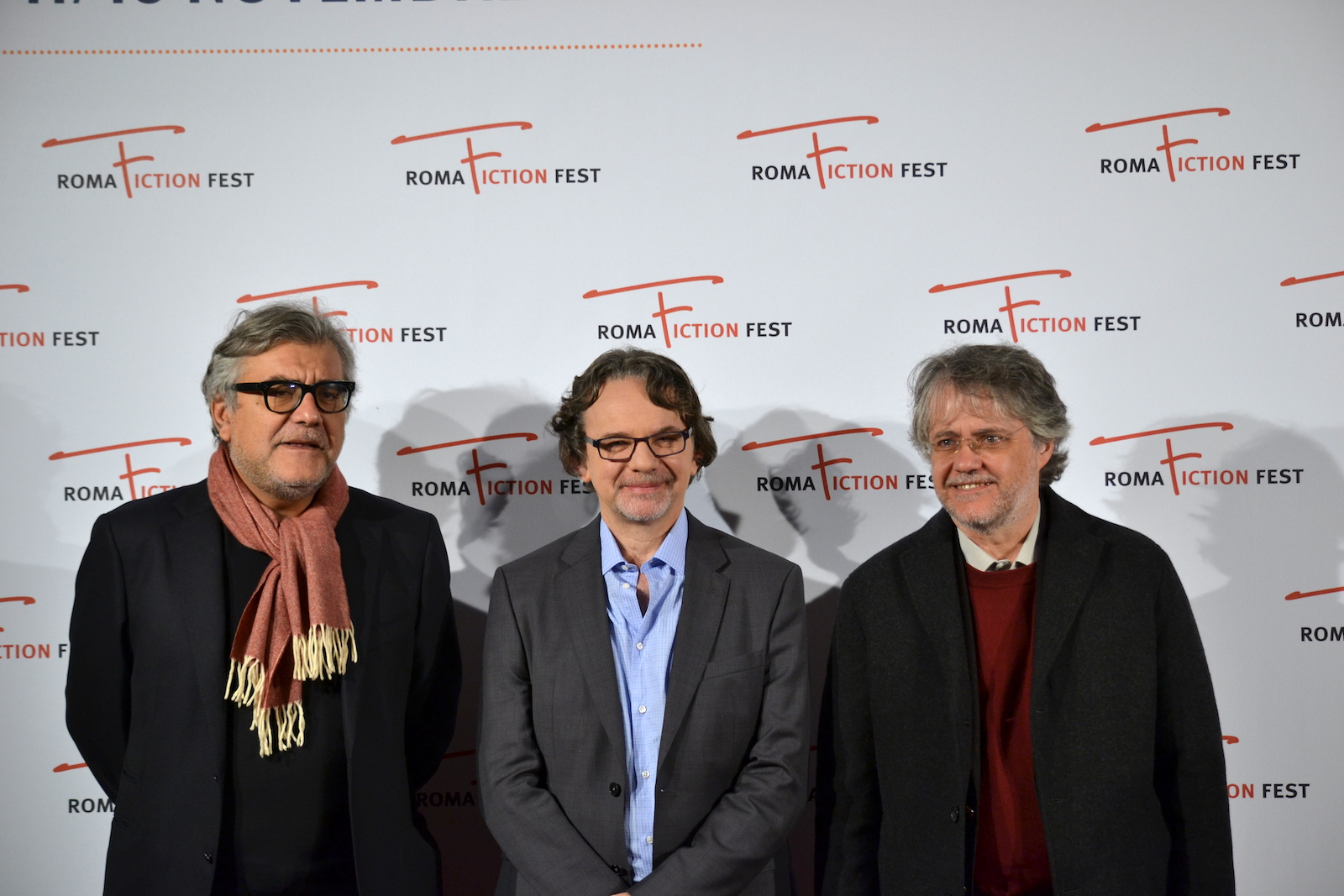 Roma Fiction Fest 2015: Frank Spotnitz, Giancarlo De Cataldo, Andrea Porporati al photocall prima della masterclass