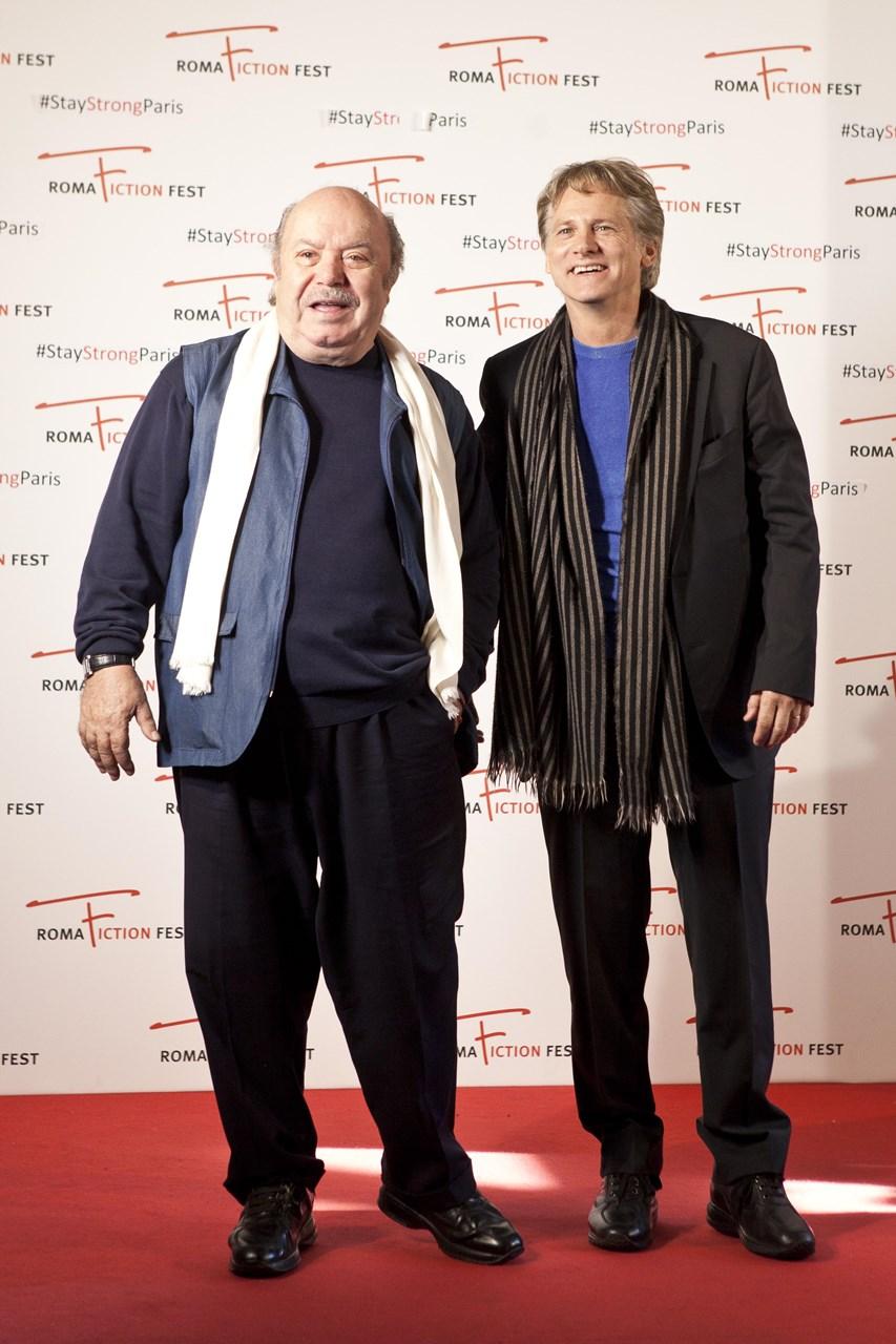 Un medico in famiglia: Lino Banfi e Giulio Scarpati posano per i fotografi prima della reunion organizzata dal Roma Fiction Fest