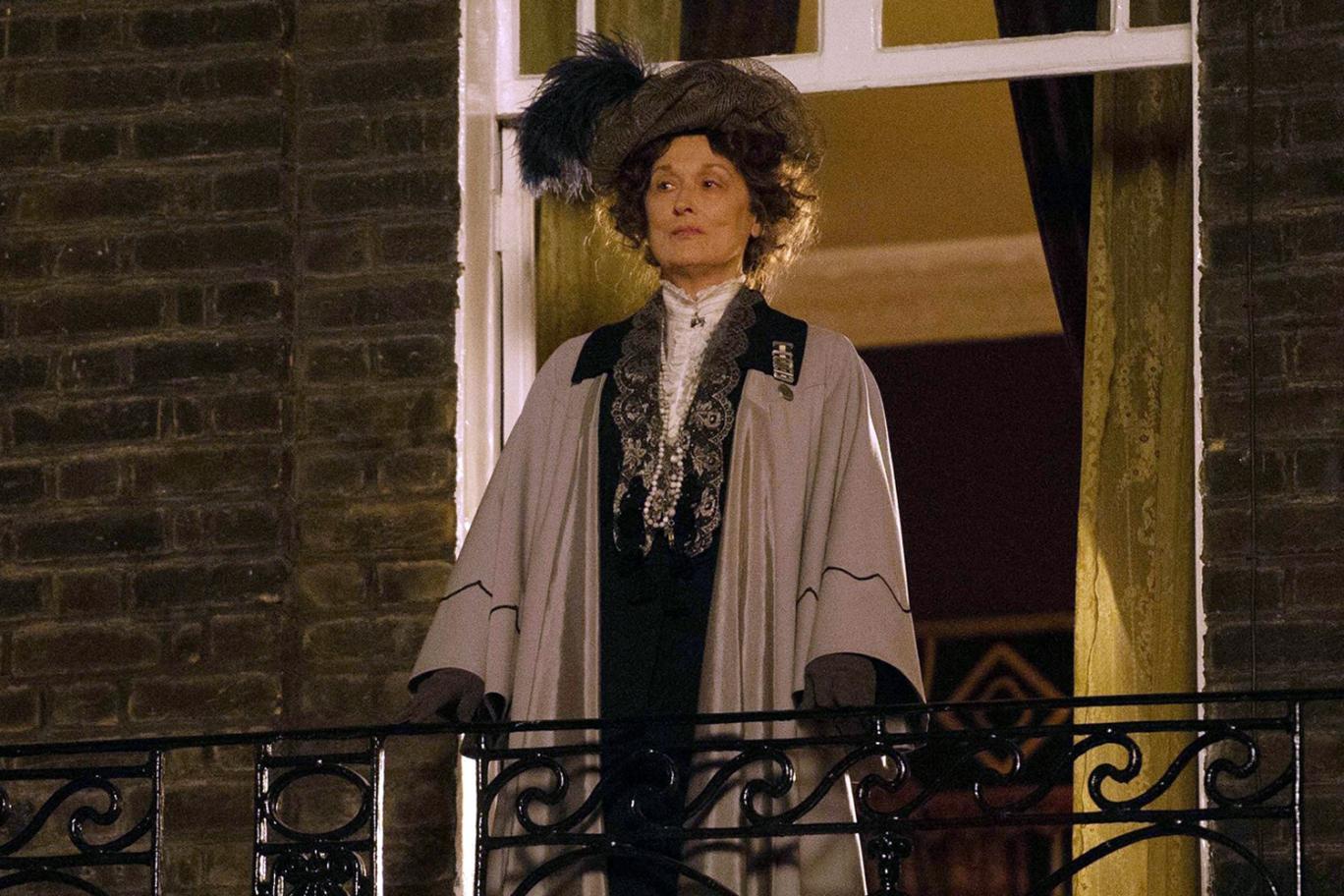 Suffragette: Meryl Streep prima del discorso tenuto alle militanti