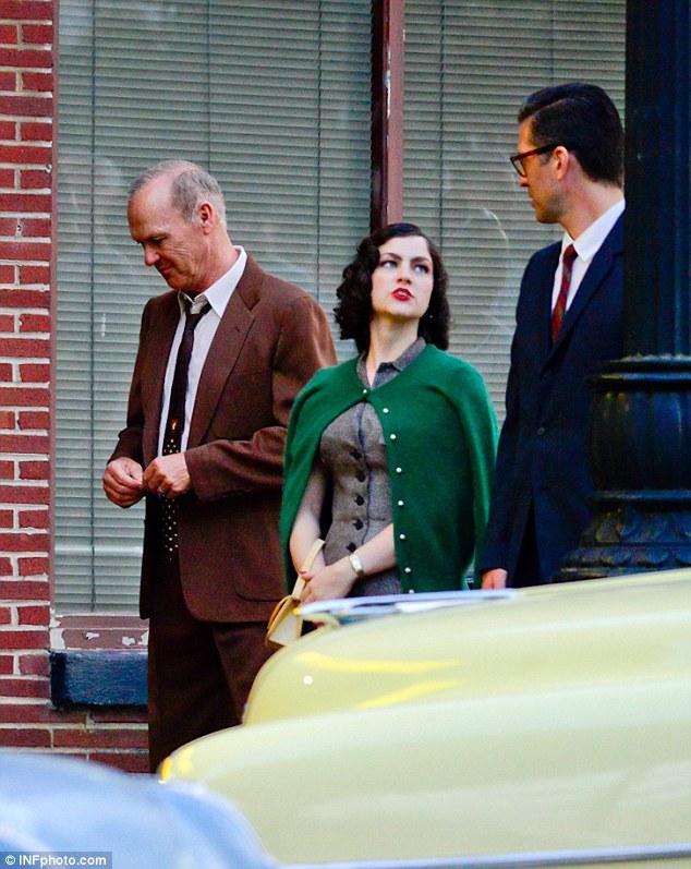 Michael Keaton sul set di The Founder
