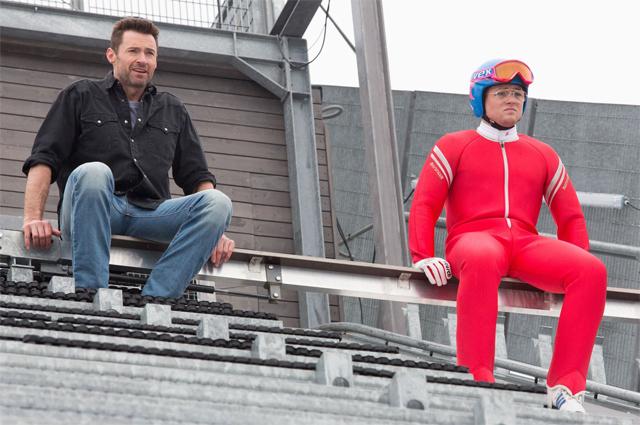 Eddie the Eagle: Hugh Jackman e Taron Egerton prima della gara