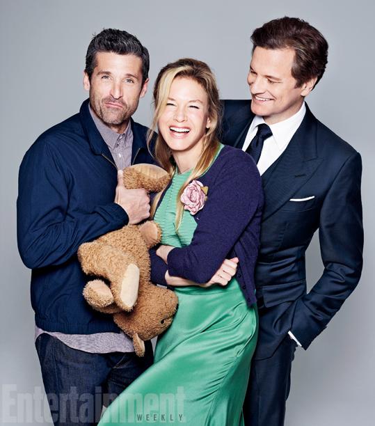 Bridget Jones's Baby: Patrick Dempsey, Renée Zellweger e Colin Firth in una foto promozionale
