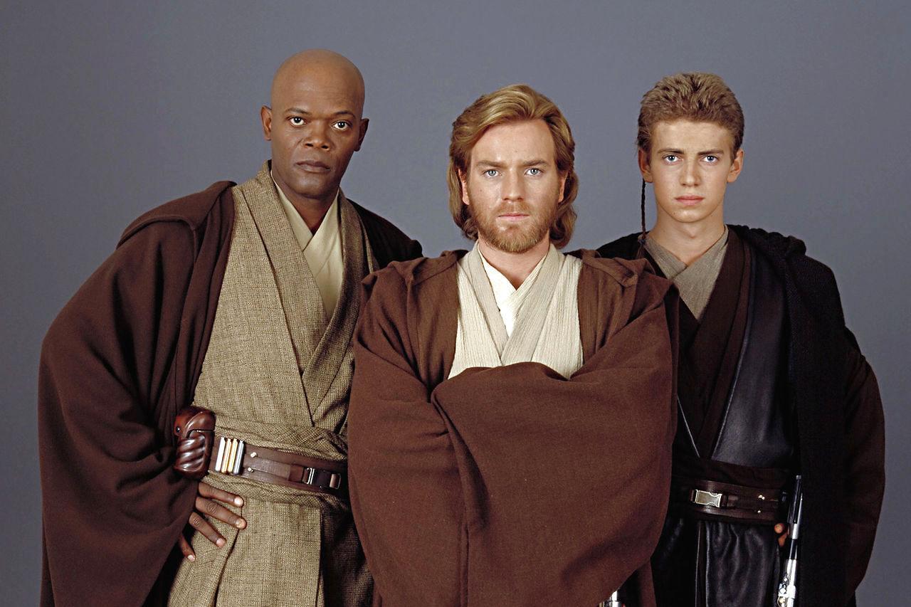 Star Wars ep. II - L'attacco dei cloni - Ewan McGregor, Hayden Christensen e Samuel L. Jackson in un'immagine promozionale