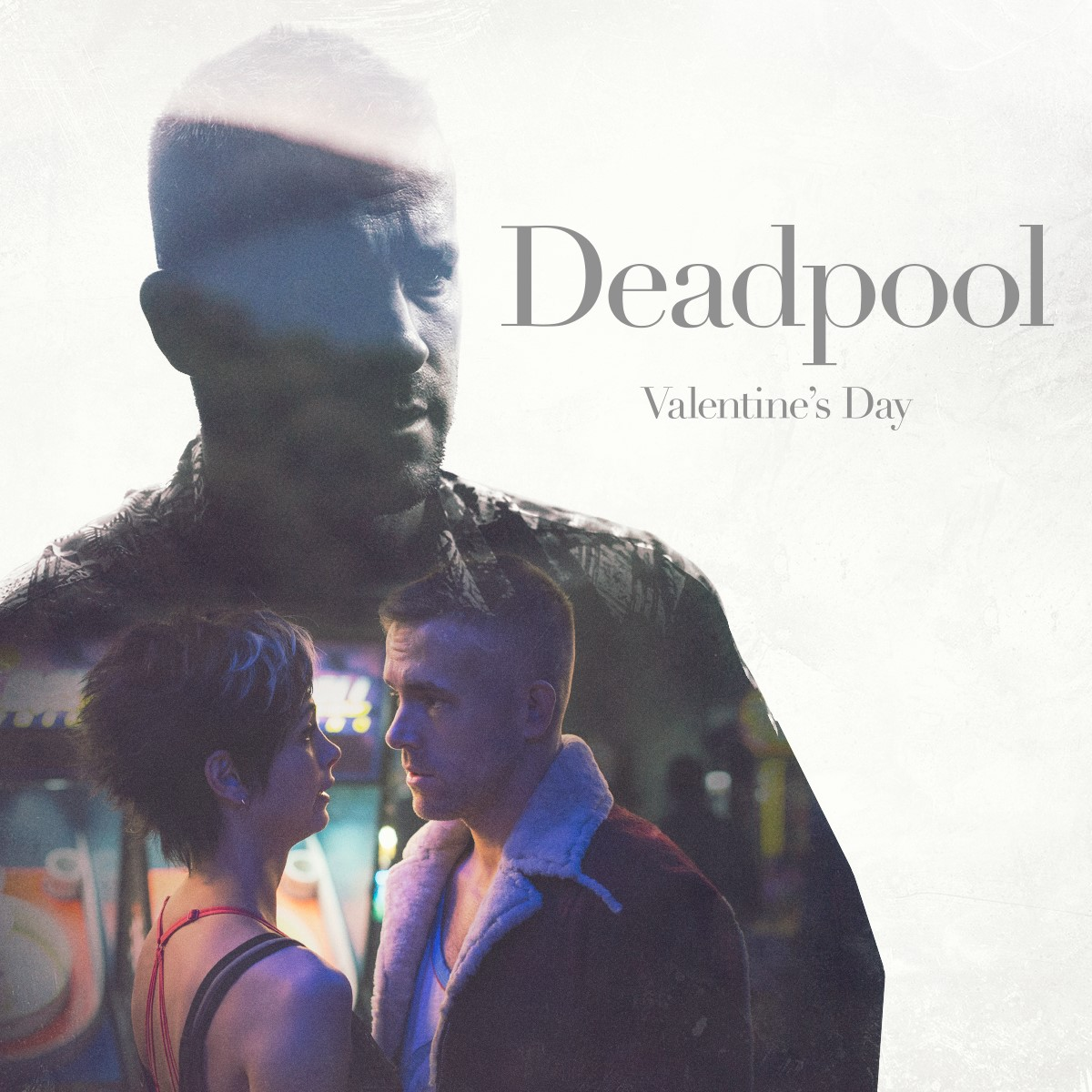 Deadpool: un banner promozionale del film con protagonisti Ryan Reynolds e Morena Baccarin
