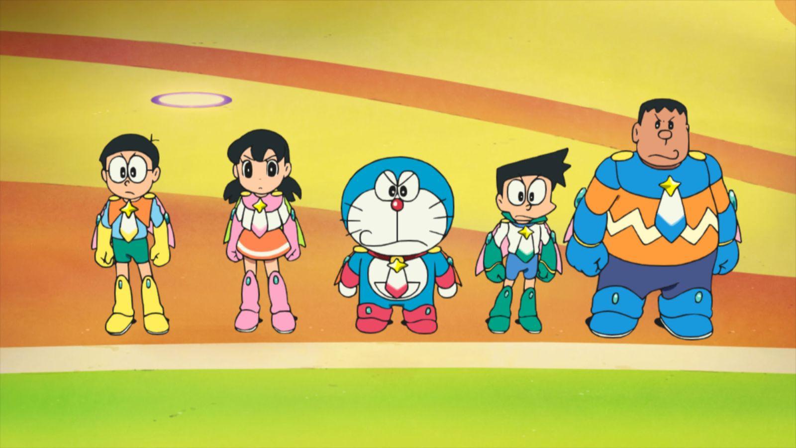 Doraemon il film: Nobita e gli eroi dello spazio, una scena del film d'animazione