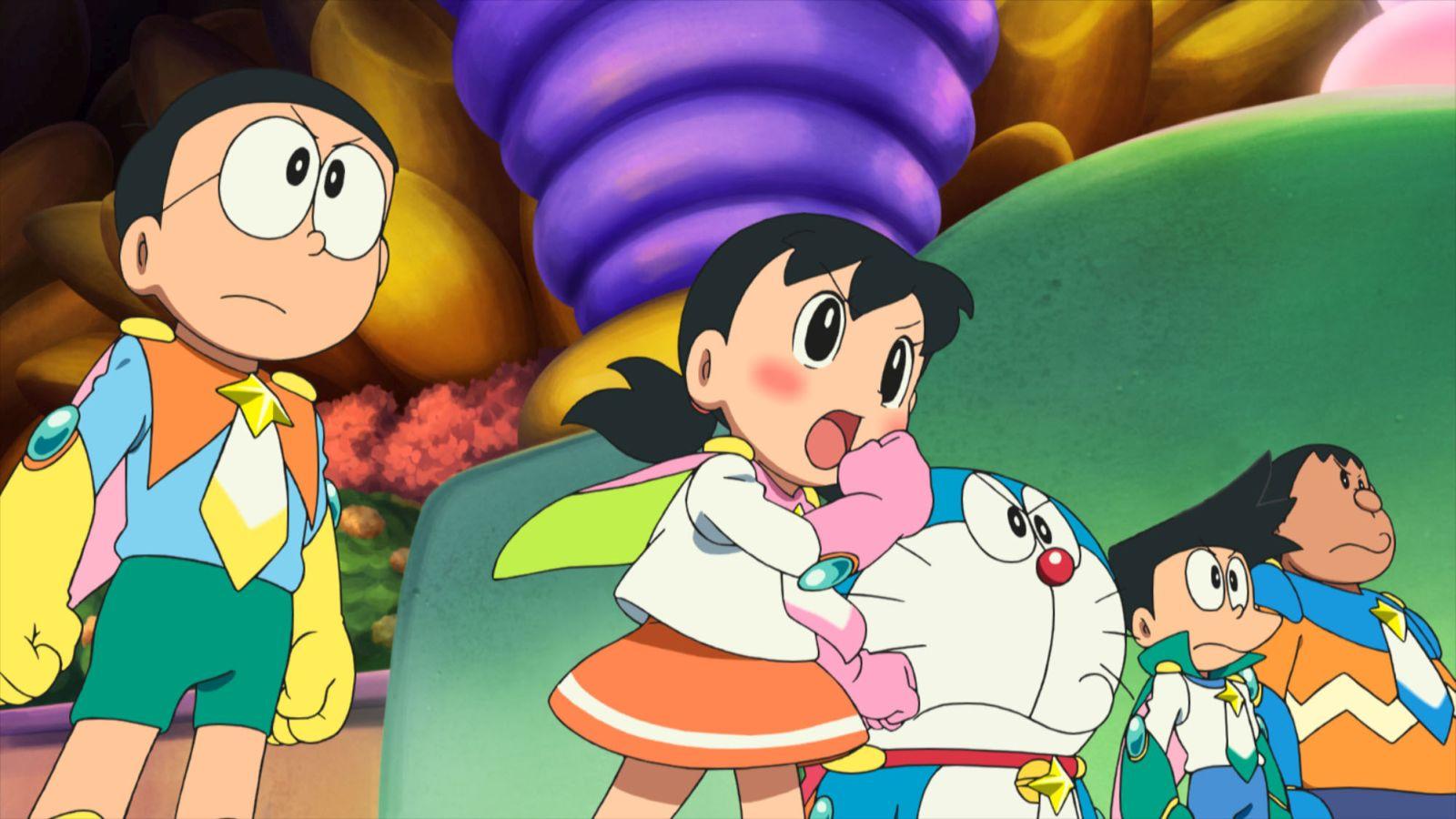 Doraemon il film: Nobita e gli eroi dello spazio, una scena tratta dal film animato