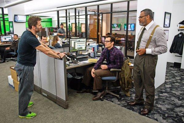 Batman v Superman: Zack Snyder, Ben Affleck e Laurence Fishburne durante le riprese