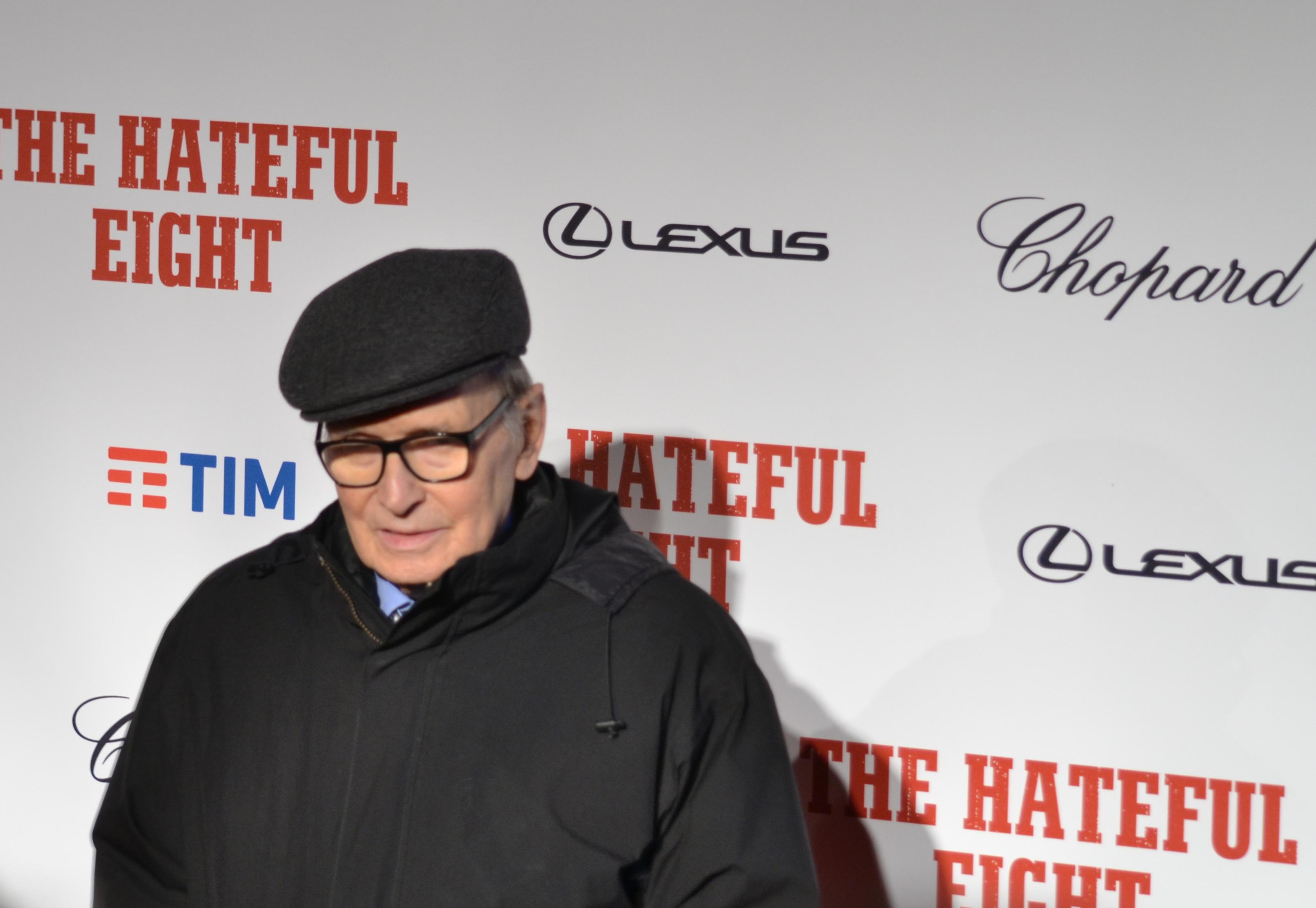 Il maestro Ennio Moriicone sul red carpet di The Hateful Eight
