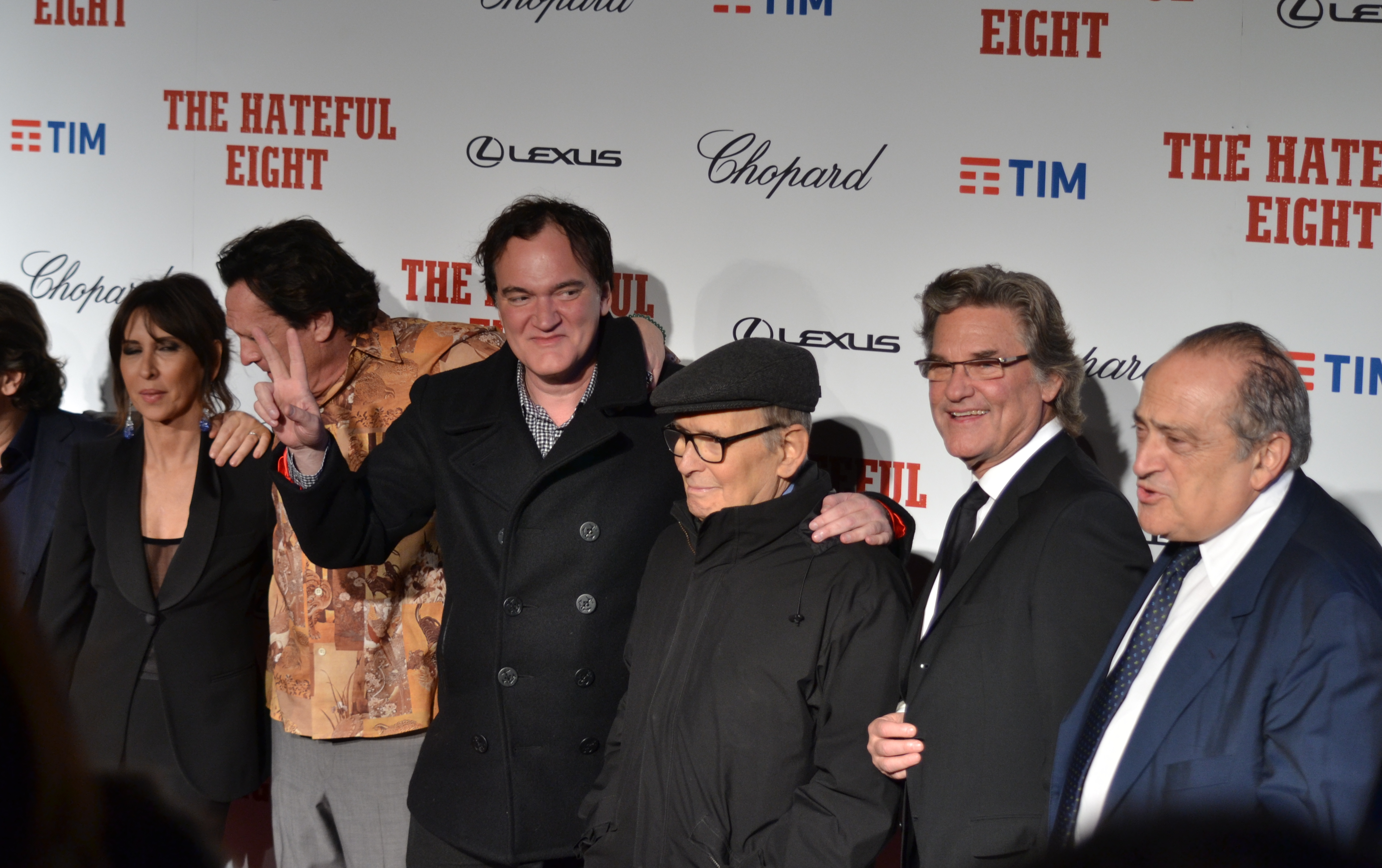Quentin Tarantino, Kurt Russel, Mchael Madsen e il maestro Ennio Morricone sul red carpet di The Hateful Eight