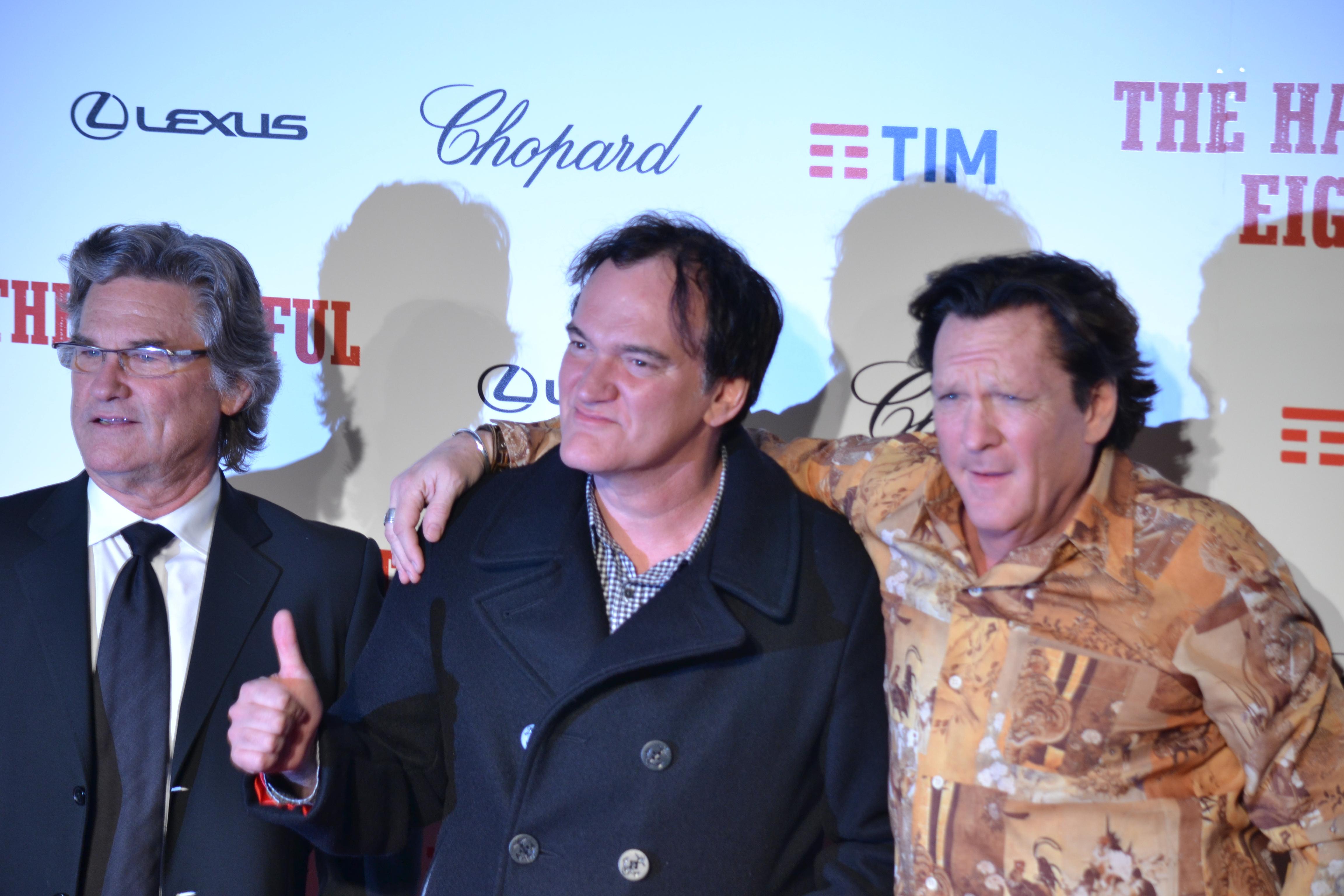 Michael Madsen, Kurt Russel e il regista Quentin Tarantino sul red carpet di The Hateful Eight