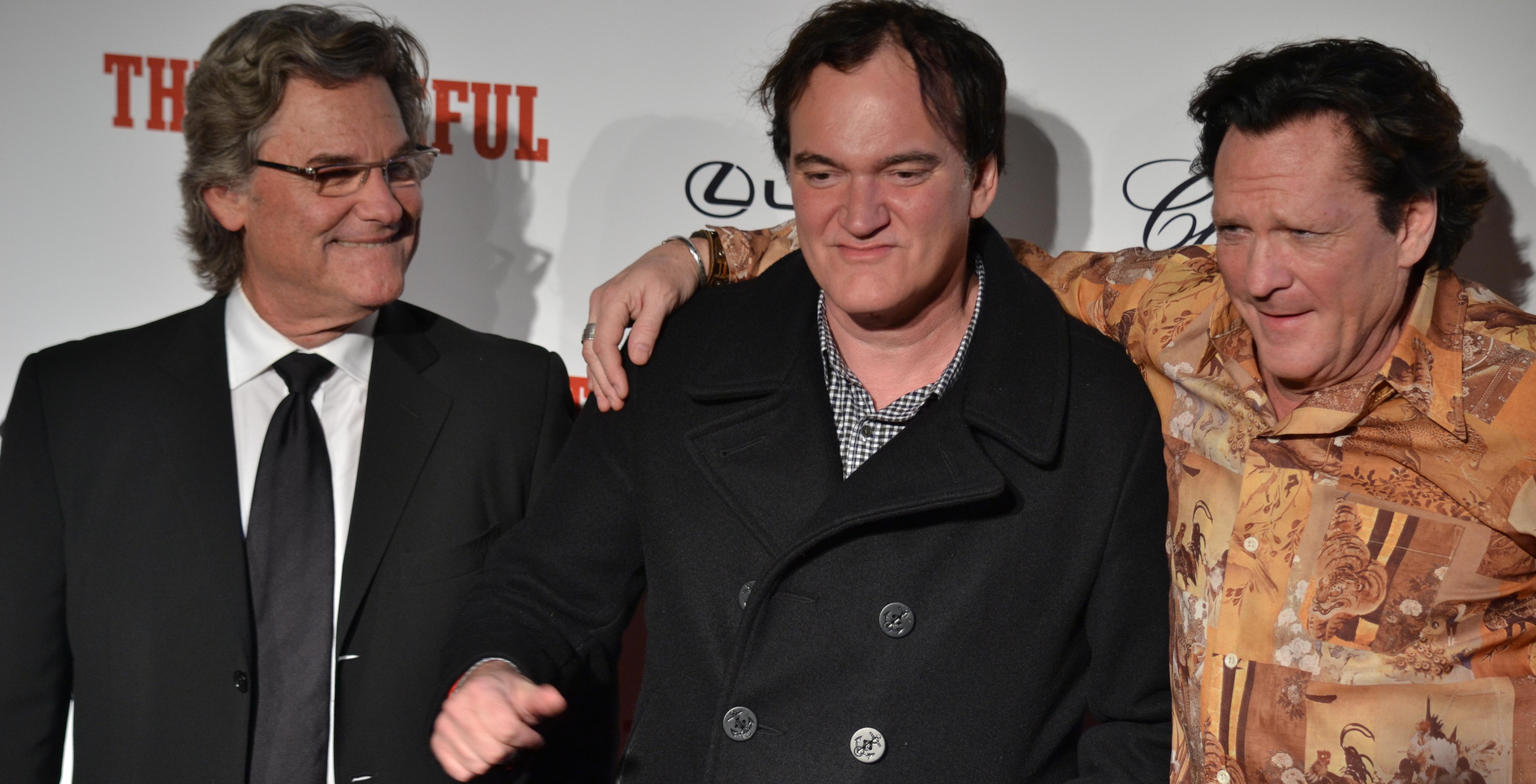 Kurt Russel, Michael Madsen e Quentin Tarantino sul red carpet di The Hateful Eight