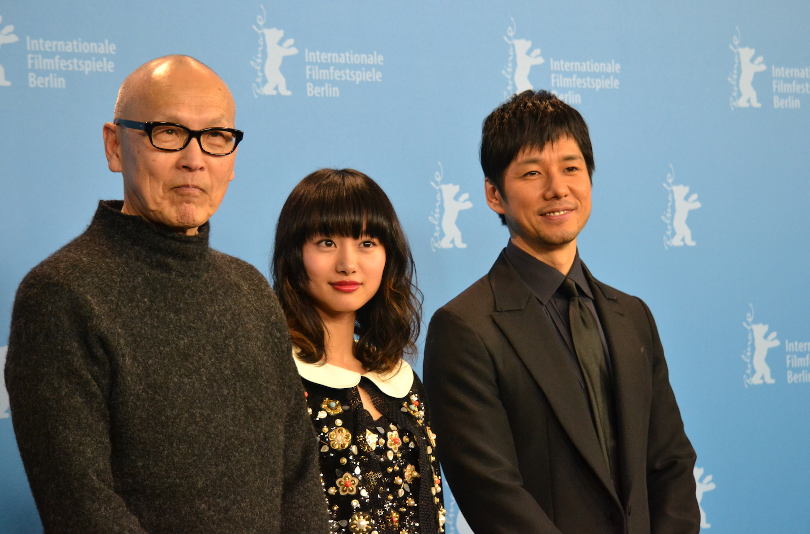 Berlino 2016: Shioli Kutsuna, Hidetoshi Nishijima e Yukie Kito al photocall di While the Women Are Sleeping