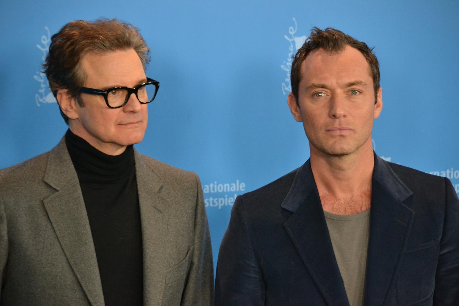 Berlino 2016: Jude Law e Colin Firth in uno scatto al photocall di Genius
