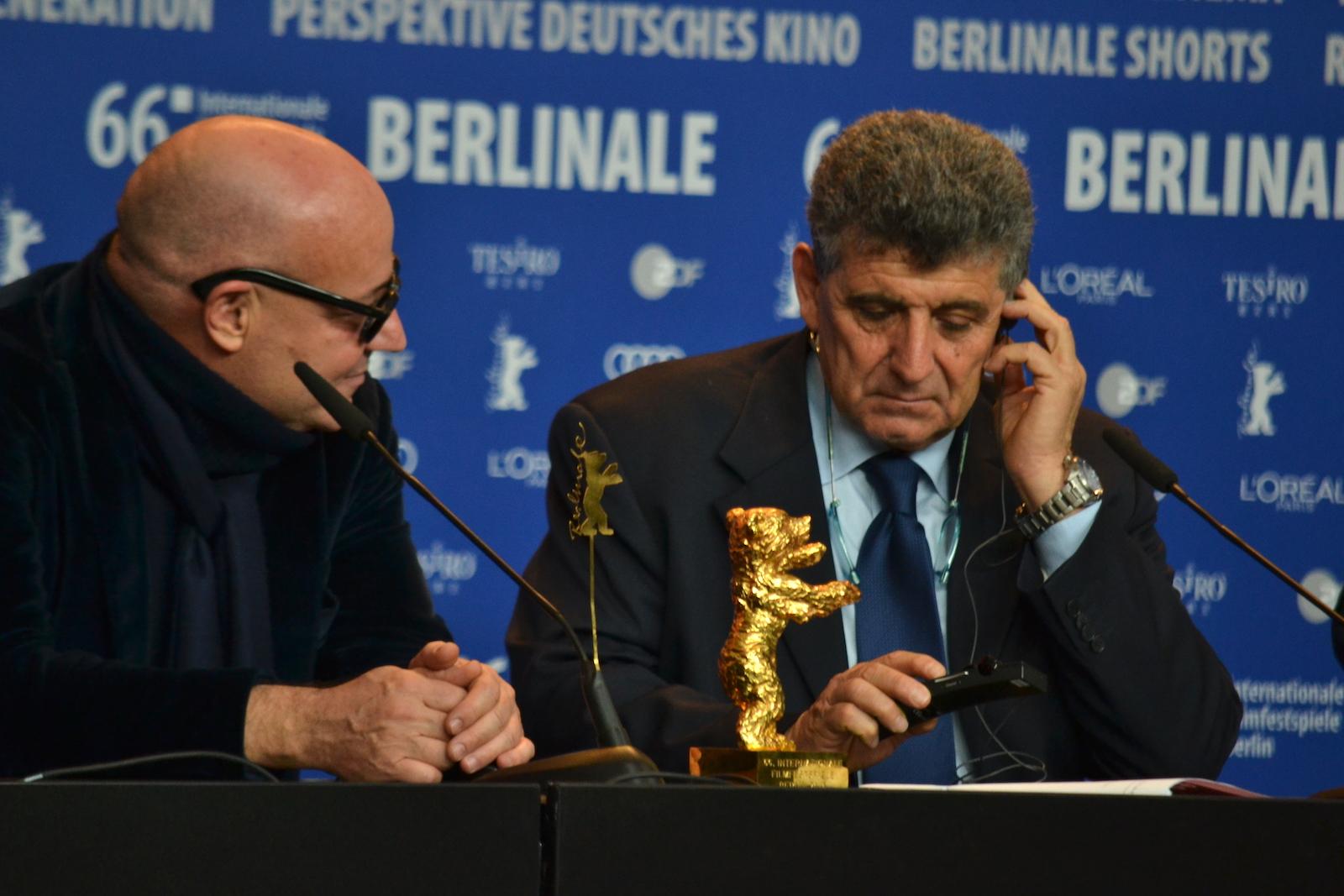 Berlino 2016: Gianfranco Rosi e Pietro Bartolo durante la conferenza dei premiati