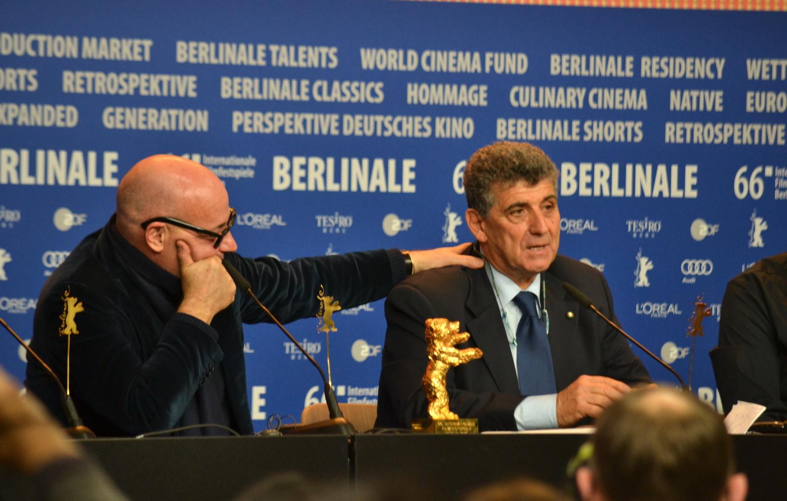 Berlino 2016: Gianfranco Rosi e Pietro Bartolo alla conferenza dei premiati