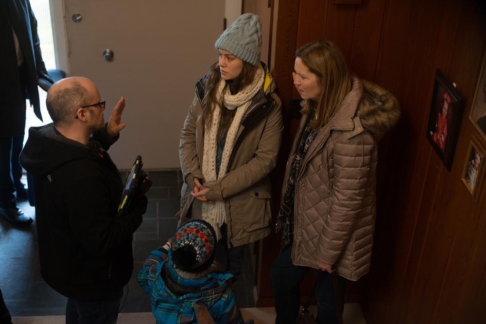 Room: Lenny Abrahamson, Brie Larson, Joan Allen e Jacob Tremblay sul set del film