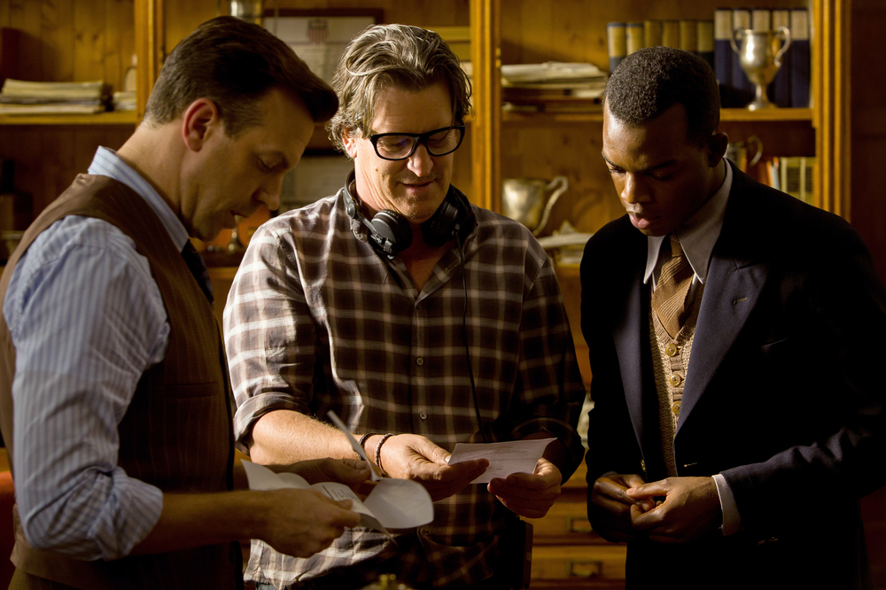 Race - Il colore della vittoria: Stephan James, Jason Sudeikis e il regista Stephen Hopkins sul set del film