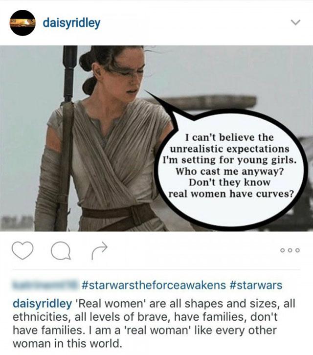 Star Wars: il risveglio della forza - Daisy Ridley si difende dalle critiche apparse on line in un post