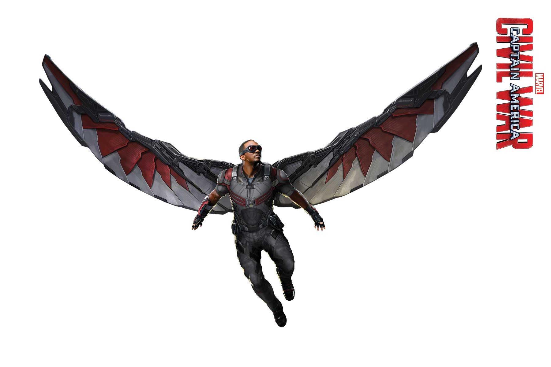 Captain America: Civil War - Un'immagine promozionale di Falcon