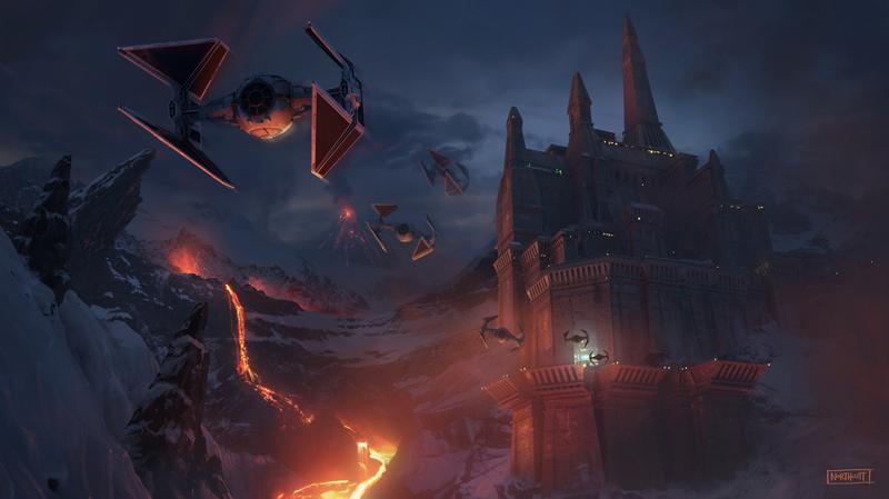Star Wars: Il Risveglio della Foza - Un concept art di una scena d'azione