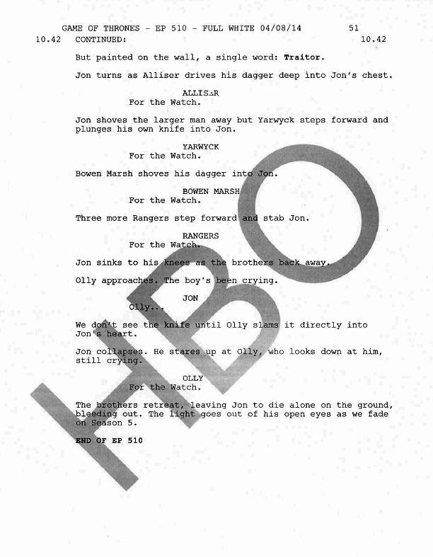 Il trono di spade: una pagina dello script dell'episodio La misericordia della madre