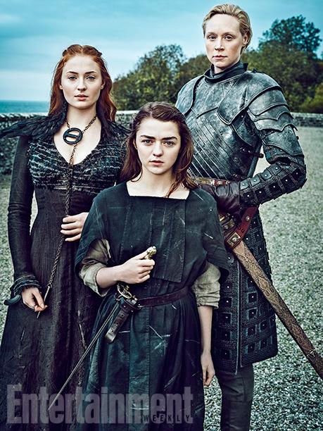 Il trono di spade: le attrici Sophie Turner, Maisie Williams e Gwendoline Christie in un ritratto realizzato per Entertainment Weekly