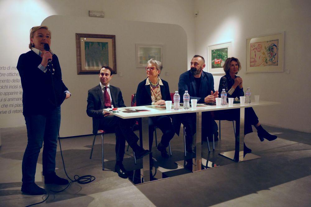Mario Monicelli: Chiara Rapaccini e Andrea Vierucci all'inaugurazione della mostra a Viareggio