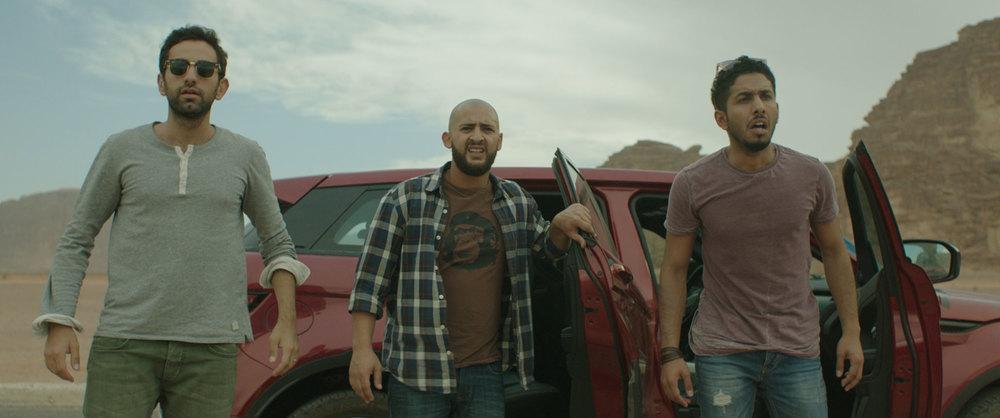 Viaggio da paura: Fadi Rifaai, Fahad Albutairi e Shadi Alfons in un momento del film