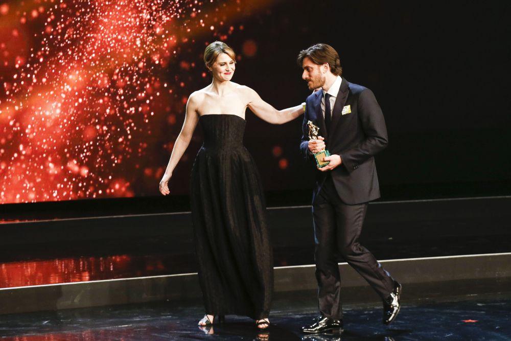 David 2016, Luca Marinelli con Paola Cortellesi