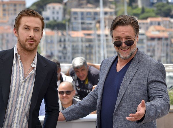 The Nice Guys: Ryan Gosling con Russell Crowe durante il photocall