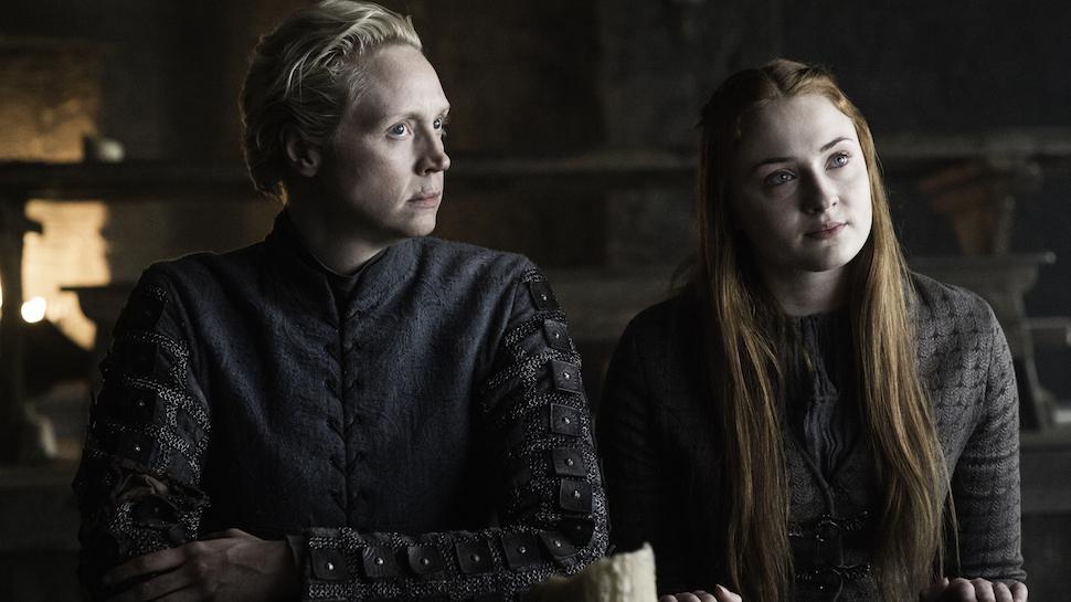 Il trono di spade: Brienne e Sansa in un momento dell'episodio The Door