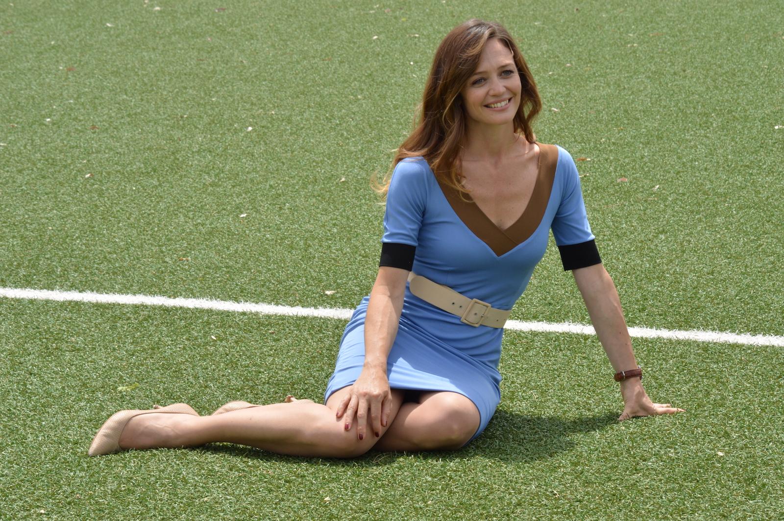 I babysitter: Francesca Cavallin posa sul set
