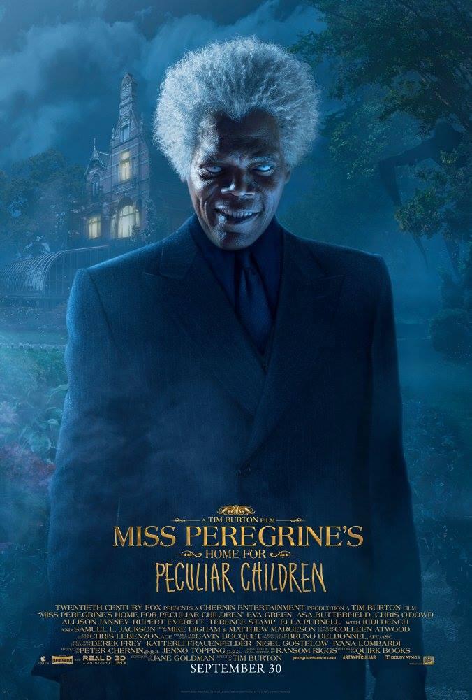La casa per bambini speciali di Miss Peregrine: un character poster del personaggio di Samuel L. Jackson