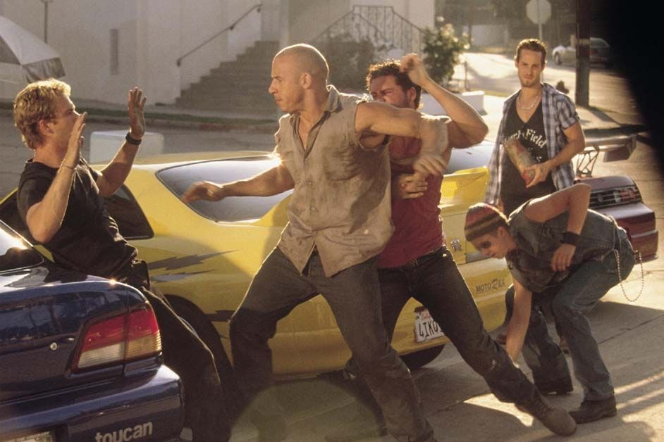 The Fast and the Furious: Vin Diesel e Paul Walker in un momento di tensione fra loro