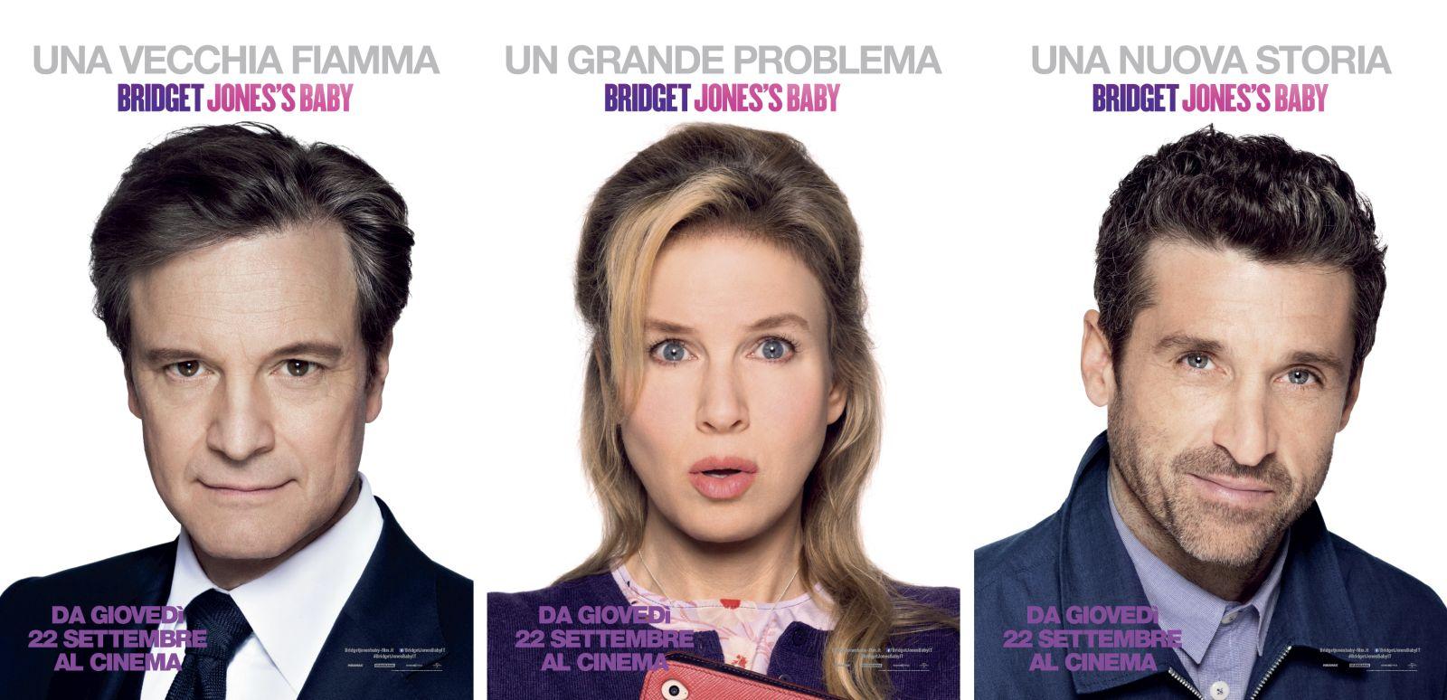 Bridget Jones's Baby: i character poster di Colin Firth, Renée Zellweger e Patrick Dempsey in un'unica immagine