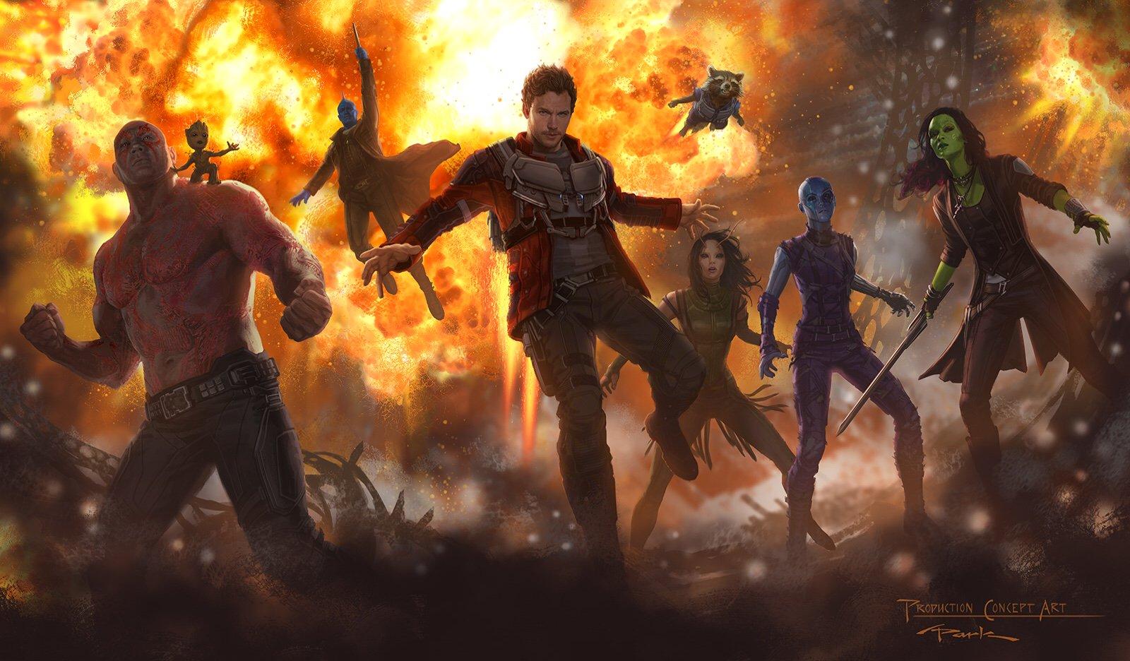 Guardiani della Galassia 2: un concept art riunisce tutti i personaggi