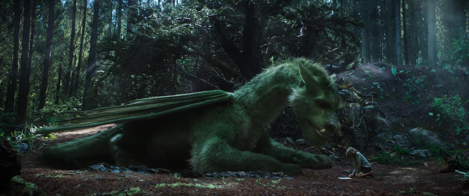 Il drago invisibile: Oakes Fegley con Elliott in una scena del film