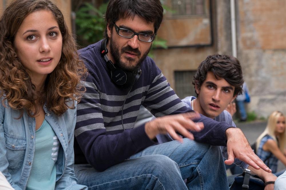 Piuma: il regista Roan Johnson, Luigi Fedele e Blu Yoshimi sul set del film