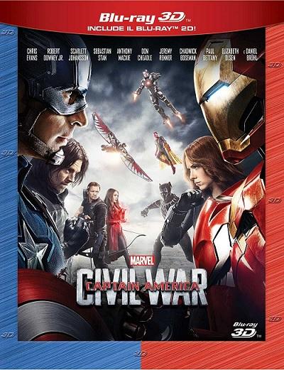 La cover del blu-ray 3D di Captain America: Civil War