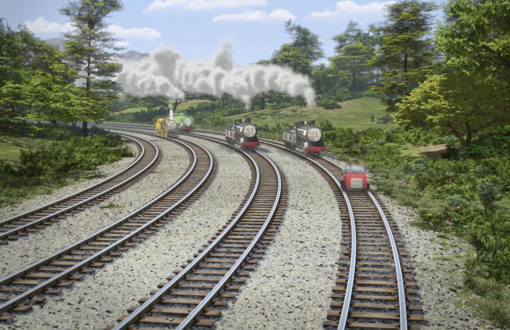 Il trenino Thomas - La grande corsa: una scena del film d'animazione