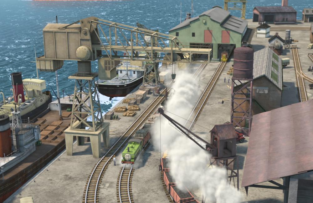 Il trenino Thomas - La grande corsa: un'immagine dall'alto del film animato