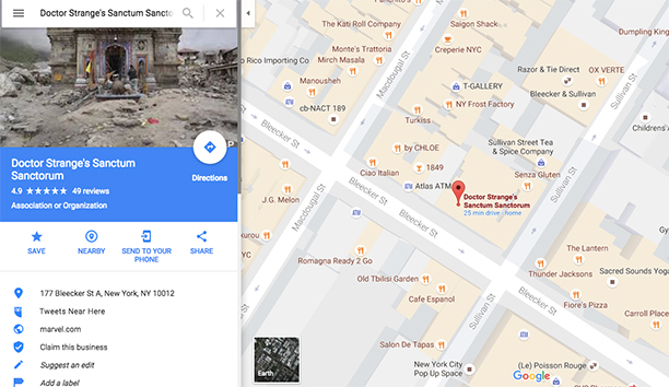 Doctor Strange: il Sancta Sanctorum su Google Maps