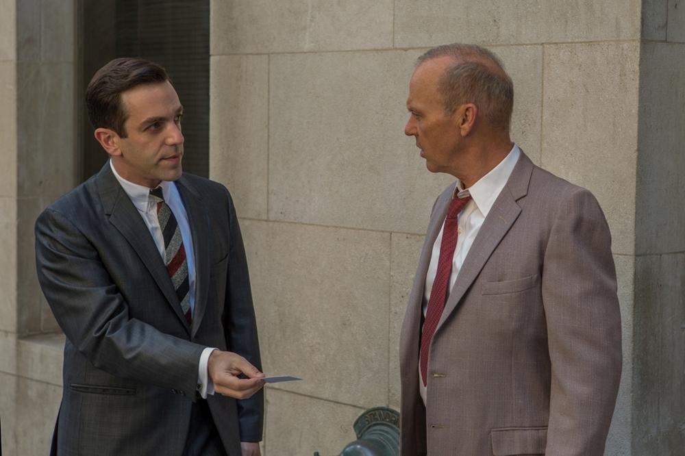 The Founder: B.J. Novak e Michael Keaton in una scena del film